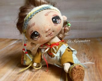 Textile art doll fabric doll  interior doll cloth textile doll