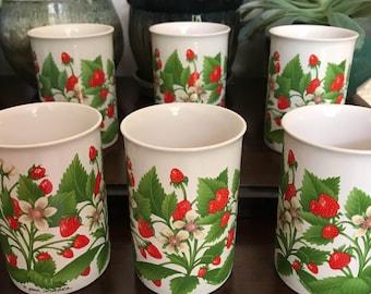 STRAWBERRY MUGS set of six lot strawberries garden cup vintage retro shabby chic cute kawaii otagiri korea korean complete collection