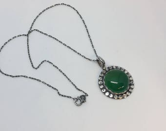 Sterling silver & green onyx necklace