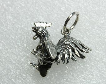 Fighting Rooster Sterling Silver Pendant