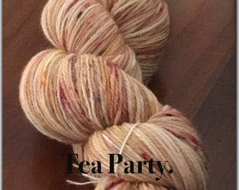 4Ply Hand Dyed Merino/Nylon 100g/400mtrs Fingering Sock Yarn. TEA PARTY