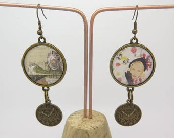 Retro and vintage style steampunk cabochon EARRINGS clip or pierced style