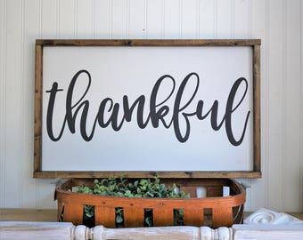 thankful | framed wood sign