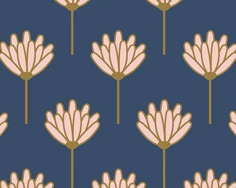 Floret Sunkissed Art Gallery Blush Dana Willard 100% cotton Quilting fabric BSH-78408 navy and pink by the yard cut to order