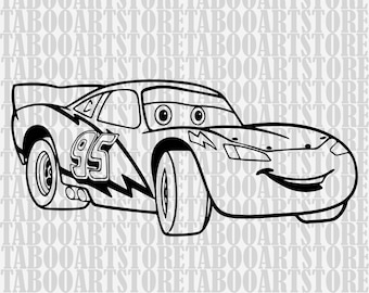 Lightning-mcqueen Stencil,Lightning-mcqueen  svg , car svg, Disney clipart, Lightning-mcqueen eps,  silhouette files Lightning-mcqueen