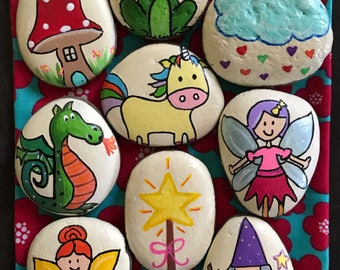 Story Stones --Fairy Theme-- 9 Piece Set --Learning, Imagination & Play-- Painted Rocks @MoonRocksArt