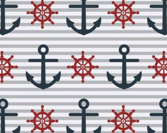 Nautical cotton fabric, fabric by the yard, sewing fabric, nursery fabric, craft fabric, apparel fabric, fabric quarter, anchor fabric