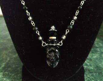 Glass Skull Bottle Necklace