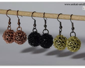 Crocheted Wire Earrings, Wire Jewelry, Wire Earrings, Black, Gold, Copper, Dangle Earrings, Crochet Jewelry, Gift for Women, Valentines Day
