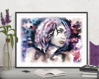 Fashion art girl printable art, Romantic bedroom art wall decor, Abstract art prints poster, Woman art painting INSTANT DOWNLOAD