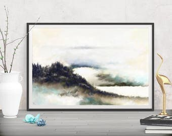 Large art landscape instant downloads, Printables modern wall decor, Black and white abstract art, Digital prints wall painting office decor