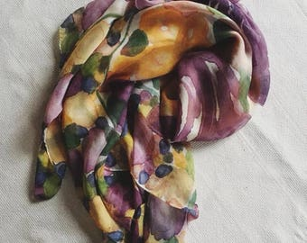 Purple and gold floral LSU hand dyed silk scarf