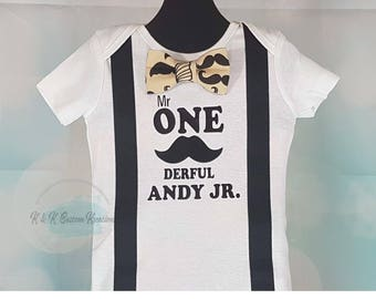 Mr Onederful Birthday Boy, First Birthday boy outfit, suspenders and tie, 1st Birthday boy, Cake Smash outfit, Birthday Boy Shirt, Mustache