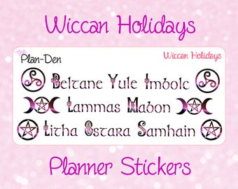 Wiccan Holidays -  moon stickers, wiccan sticker, witchcraft sticker, pagan sticker, spiritual sticker, ritual sticker, altar sticker