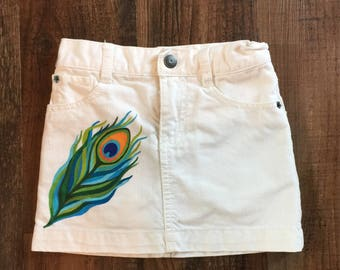 Gymboree White Denim Skort, Peacock Feather Skirt, Hand Painted Clothing, Size 4