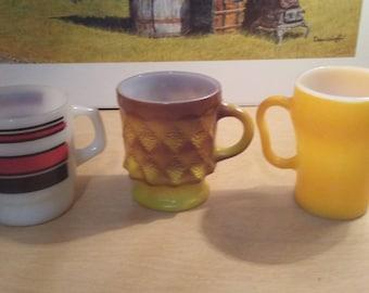 3 Fireking  cups mugs Soda Kimberly and striped