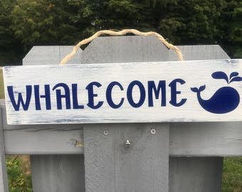 Whalecome Weathered Wood Sign