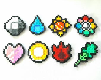 Pokemon Kanto Badges perler pixel beads x 8