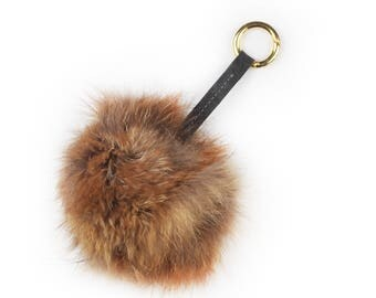 Upcycled fur pom pom / keychain / bag charm made from recycled genuine brown fox fur