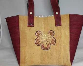 Cork embroidered tote bag