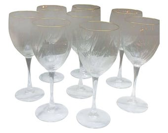 Gold Trimmed Wine Glasses Set of  8