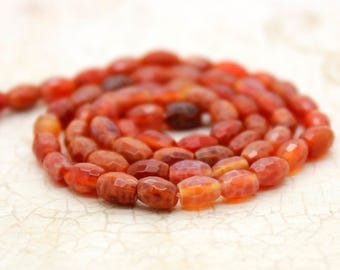 Red Fire Agate Faceted Oval Gemstone Beads