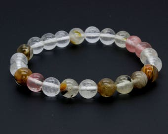 "Smooth Mixed Clear Transparent Beads Size 8mm. Length 8"" Semi-Precious Gemstone Elastic Cord Bracelet Accessories"