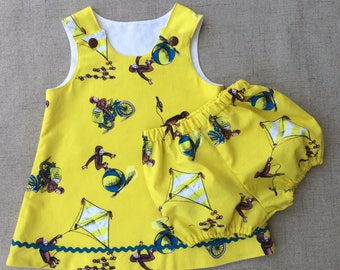 Curious George Handmade Dress and Bloomers