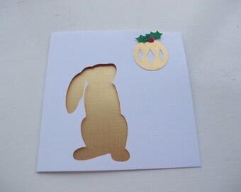 Handmade Christmas Card - Rabbit and Bauble