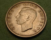 Bride's  Silver Sixpence Coin from New Zealand 1940   / Good Luck for the Bride  / The Coin you see is the Coin You Get<># ET4135