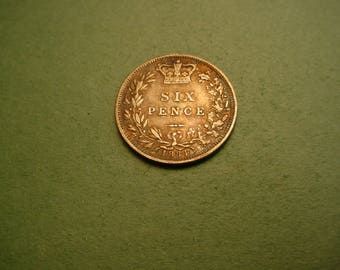 Bride's  Silver Sixpence Coin from Great Britain 1884 / Good Luck for the Bride  / The Coin you see is the Coin You Get<># ET4077