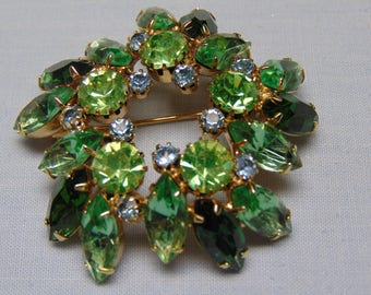 "50's Vintage 2 1/2"" Two Tone Green Marquee Brooch"