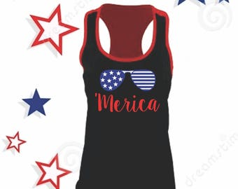 Merica 'Merica Sunglesses American Flag USA Patriotic 4th Fourth of July Tank Top Tee TShirt  Womens Shirt Boutique