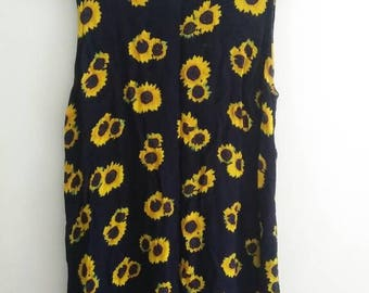 Vintage 90s Sunflower Navy Dress