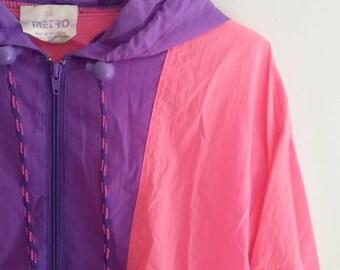 Vintage Neon Pink and Purple Windbreaker