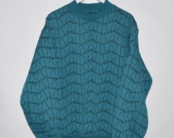 Rare Vintage 90's Koman Sportswear Soft Cotton Moc Neck Sweater Sweatshirt XL