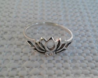 Lotus Flower Ring, Solid Sterling Silver Lotus Ring, Lotus Jewelry, Hindu Jewelry