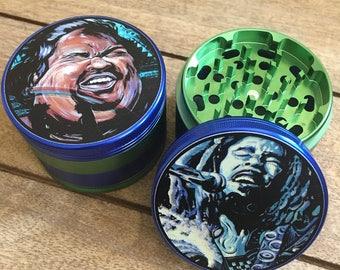 Bob Marley and Big Iz . Original art . 4 part 64mm custom herb grinders.  Sold separately.