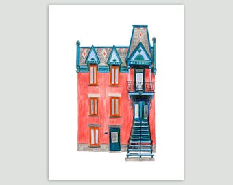 Montreal House in Pink/Teal – Fine Art Print of Original Drawing