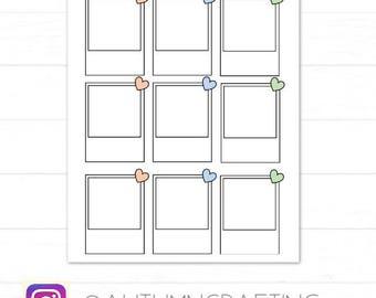 9 Heart polaroid frame stickers/Die Cuts