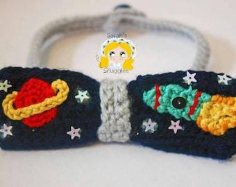 Crochet bow tie, space theme