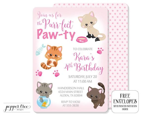 Kittens birthday invitation in pink cat birthday party invitation il570xn filmwisefo