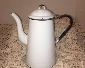 French Country Antique White Enamelware Tea Kettle