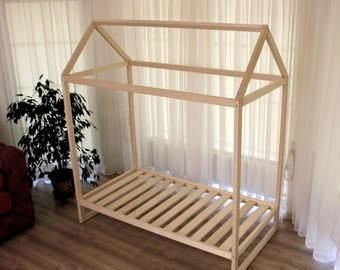 Toddler House Bed, Montessori Floor Bed, Teepee Bed, Kid Bed, Wood Bed