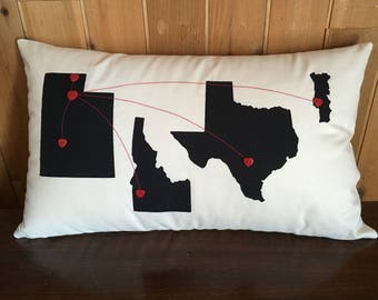 Custom Hearts from Here to There Pillow, Gift for Mom, State to State Pillow, Distance Pillow, USA Pillow, Long Distance Family, Miles Apart