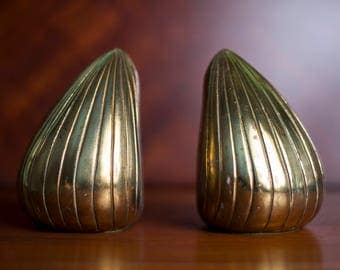 """Ben Seibel Brass """"Clam"""" bookends by Jenfred-Ware"""