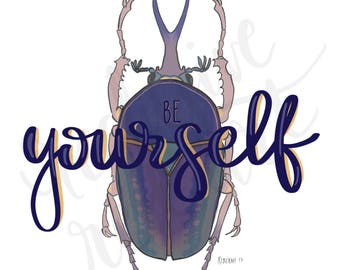 Be Yourself, beetle, digital print, home decor, wall art, painting, printable, instant download
