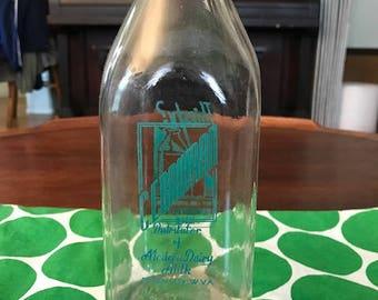 Rare 1950s Borden's Milk Bottle Distributed by C.E. Bauman, Paden City WV