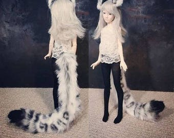 BJD leopard tail and magnetic ear set (DOLL size)