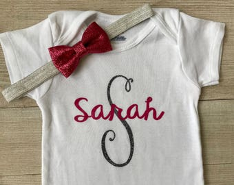 Going Home Outfit, First Name and Initial Outfit, Pink and Silver, Baby Girl